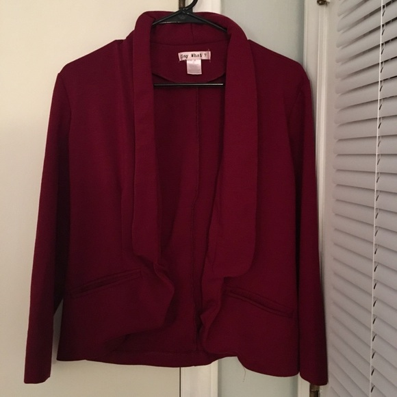 Say What? Jackets & Blazers - SayWhat Women's Long Sleeve Deep Red Blazer Size M